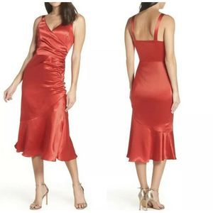 NWOT Chelsea28 | Ruched Midi Dress Red Satin L